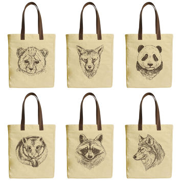 Wild Animals Vintage Style Beige Printed Canvas Tote Bags Leather Handles WAS_30