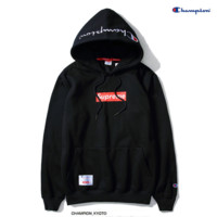 """Supreme""""Champion""Contracted hooded sweater Black"