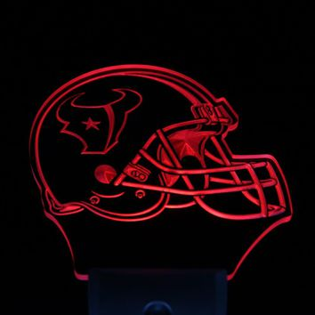 ws0095 Houston Texans Helmet Bar Pub Day/ Night Sensor Led Night Light Sign