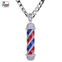 Jewelry Kay style Men's Silver Plated Diamond Barber Shop Pendant Cuban Chain Necklace BCH 15108 S