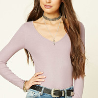 Scooped Ribbed Knit Top