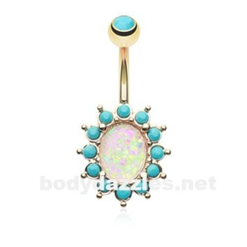 Gold Elegant Opal Turquoise Belly Button Ring 14ga Navel Ring Body Jewelry Surgical Steel