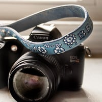 Camera Wrist Strap Or Key Ring - Something Blue - Floral pattern - Custom Leather Strap -hand tooled leather - Made to Order by Mesa Dreams