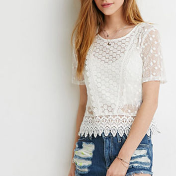Embroidered Crochet Trim Top