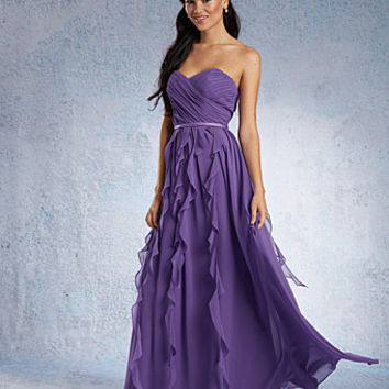 Alfred Angelo 7319L long chiffon A-line bridesmaid dress, evening dress Purple Size 6