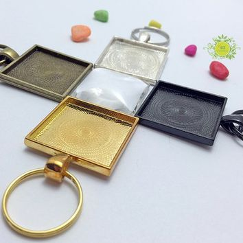 10 Key chain Kits-Complete Pendant Kits-DIY Key Chains-1 inch (25mm) Square Pendant Trays-20mm Split Key Rings,25mm Glass Cabochon Included