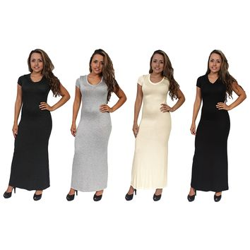 Women's Chic Casual Short Sleeve Long Maxi Dress 4-PACK MADE IN USA S, M, L.MAXI 4 PACK.S