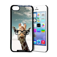 Shawnex Hipster Giraffe Geek Glass iPhone 5C Case - Thin Shell Plastic Protective Case iPhone 5C Case