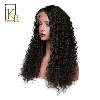 Lace Front Human Hair Wigs For Women Remy Brazilian Short Curly Lace Wig Pre Plucked With Baby Hair Black Color King Rosa Queen