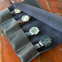Leather Watch Roll Case, handmade leather watch case, protective leather roll/cover, handmade leather watch pouches travel rolls