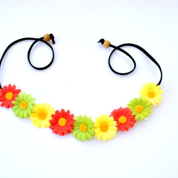 Rasta Flower Crown Flower Headband Jamaican Floral Halo Red Yellow Green Daisy Crown Bohemian Hippie Headpiece Festival Crown Flower Halo