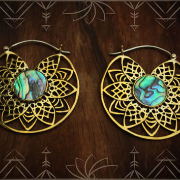 Abalone inlayed brass mandala hoop earrings with 925 ear wire/fastening. gypsy hoops