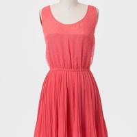Parkway Pleated Dress In Coral