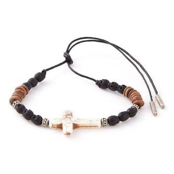 ESBONJF Saint Laurent beaded crucifix bracelet