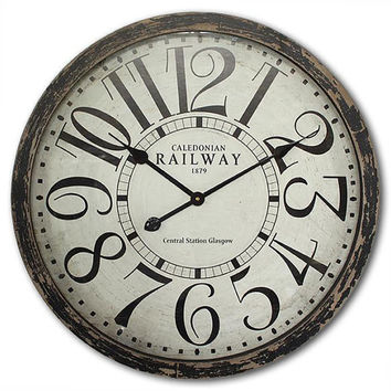 Vintage Large Wall Clock 24x24 Inches London Railway, Glass and Wood