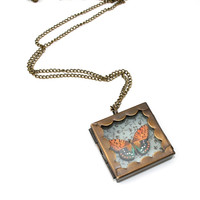 Orange Butterfly Necklace, Butterfly Box Necklace, Wood Pendant, Illustration Jewelry, Woodland, Animal Necklace
