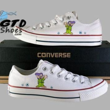 DCCK1IN hand painted converse low snow whites dopey disney seven dwarfs handpainted shoes