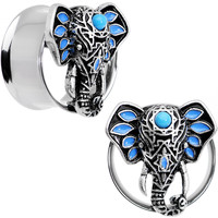 "3/4"" Faux Turquoise Bound for Bali Elephant Tunnel Plug Set"