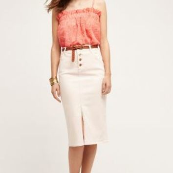 Holding Horses Denim Column Skirt in Pink Size: