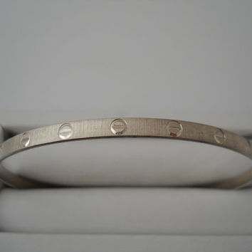 Sterling Silver 925 Etched Bangle Bracelet 2.75 in Brushed Circles Lines Eternity Milor Italy 925