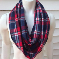 Women's-Flannel-Plaid-Blue-Handmade-Infinity-Scarf-Chunky-Gifts for Her-Accessories-Winter-NY Giants-