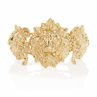 GOLD TONE LION CLAMP BRACELET