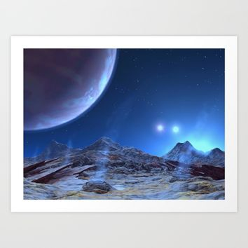 Extraterrestrial Landscape : Galaxy Planet Blue Art Print by 2sweet4words Designs