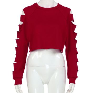 crop top cut out sweat shirt tg