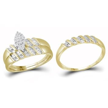 10k Yellow Gold Diamond Marquise-shape Cluster Bridal Wedding Trio Mens Womens Ring Band Set