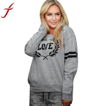 Autumn Sweatshirt 2017 New Arrival Womens Pullover Tops Casual Love Letters Printed Long Sleeve daily wearing Sweatshirts