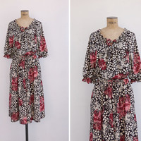 1970s Dress - Vintage 70s Floral Polyester Dress - Read My Letter Dress