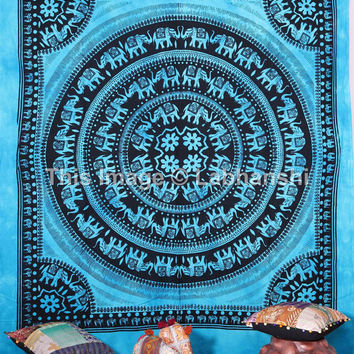 Elephant Wall Hanging , Hippie Indian Elephant Mandala Tapestry Throw Bedspread Queen Bed Decor Sheet Ethnic Decorative Art Table Cloth