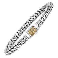 Rhodium Plated Weave Yellow Sapphires Bracelet In Sterling Silver With Textured Edges