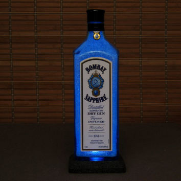Bombay Sapphire Gin Bottle Lamp Bar Light LED nightlight bar mancave kitchen decor accent lamp