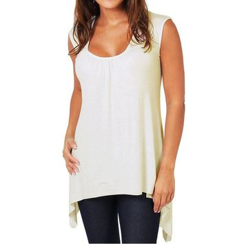 Women Casual T-shirt O Neck Sleeveless Tank Top Plus Size Loose Tee Ladies Shirts
