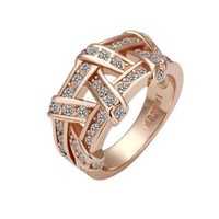 Rose Glod Weave Gold Plated Ring Health Jewelry Nickel Free Austrian Crystal, Size 8