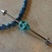 Turquoise Skull Industrial Barbell 14ga Body Jewelry Ear Jewelry Double Piercing
