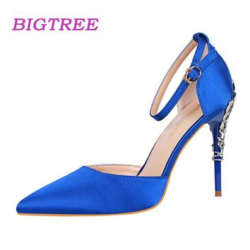 BIGTREE Brand 2018 Summer Designer Women High Heels Sandals Ankle Strap Metal Blue Heels Scarpins Valentine Pumps Satin Shoes