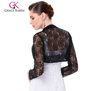 Belle Poque Long Sleeve Lace Bolero Wedding Accessories Plus Size Jacket Bridal Wraps Elegant Wedding Shawl Shrug Accessories