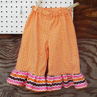 Baby Girl ruffled pants, size 12, 18 months 2 T , Orange, fall, thanksgiving,