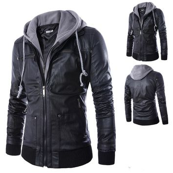 Casual Men's Leather Hoodie Jacket (Size M- 4XL)