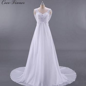 C.V Real Photos French Style BOHO Beach Wedding Dress Backless High Waist Sexy A line Plus Size Country Wedding Dresses W0125