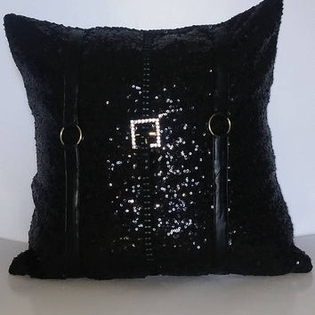 Black Glitzy Sequins with Gold Buckles Luxury Pillow Cover