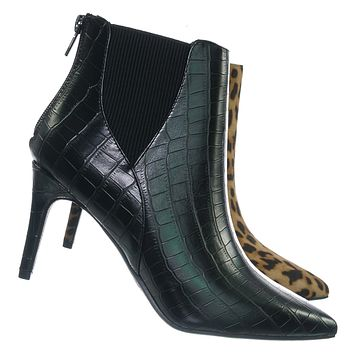Rack Pointed Toe Ankle Bootie - Women Chelsea High Heel Croc Print Elastic