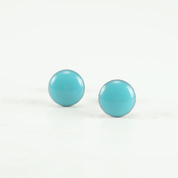 CALYPSO SKY Stud Earrings - Calypso Sky Earrings - Turquoise Ear Studs - Turquoise Earrings Stud - Surgical Steel Earring - 4mm / 6mm / 8mm