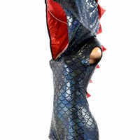 Black Dragon Scale Cap Sleeve Hoodie Romper with Red Holographic Spikes & Hood Linin