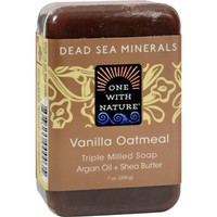 One With Nature Dead Sea Minerals Bar Soap - Vanilla Oatmeal - 7 oz