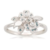 Sterling Silver Flower White and Blue Diamond Ring