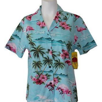 RJC Women's FLAMINGO ISLAND Hawaiian Camp Shirt Blue Large