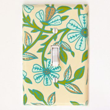 Teal Flowers Switch Plate - Single Toggle
